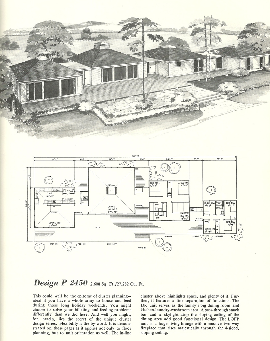 Vintage home plans cluster units 2450 antique alter ego for Cluster home plans