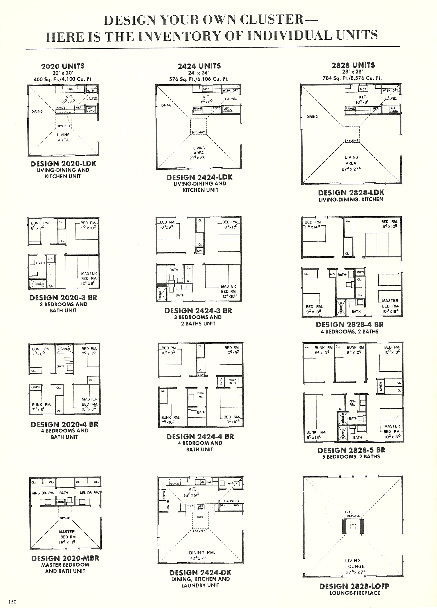 Vintage home plans cluster units 2453a antique alter ego for Cluster home plans