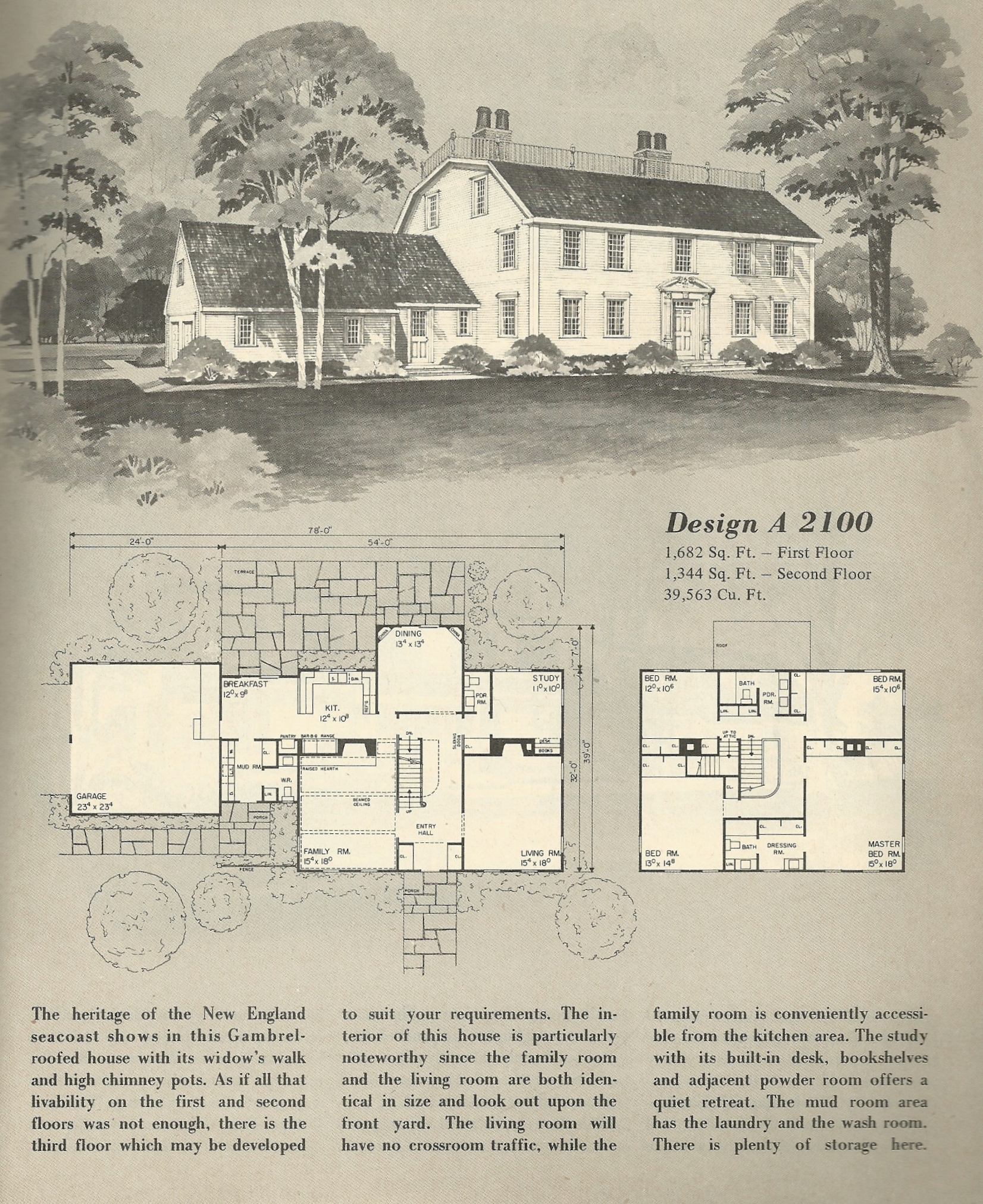 Vintage home plans gambrel 1 antique alter ego for Gambrel roof house plans