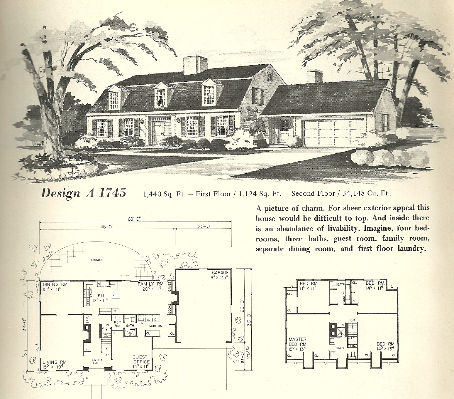 Vintage home plans gambrel 1745 antique alter ego for Gambrel roof house plans