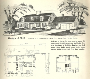Vintage house plans, gambrel roof, 1970s