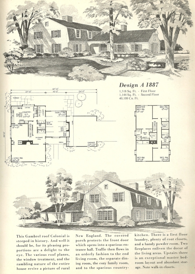Vintage home plans gambrel 1887 antique alter ego for Gambrel roof house plans