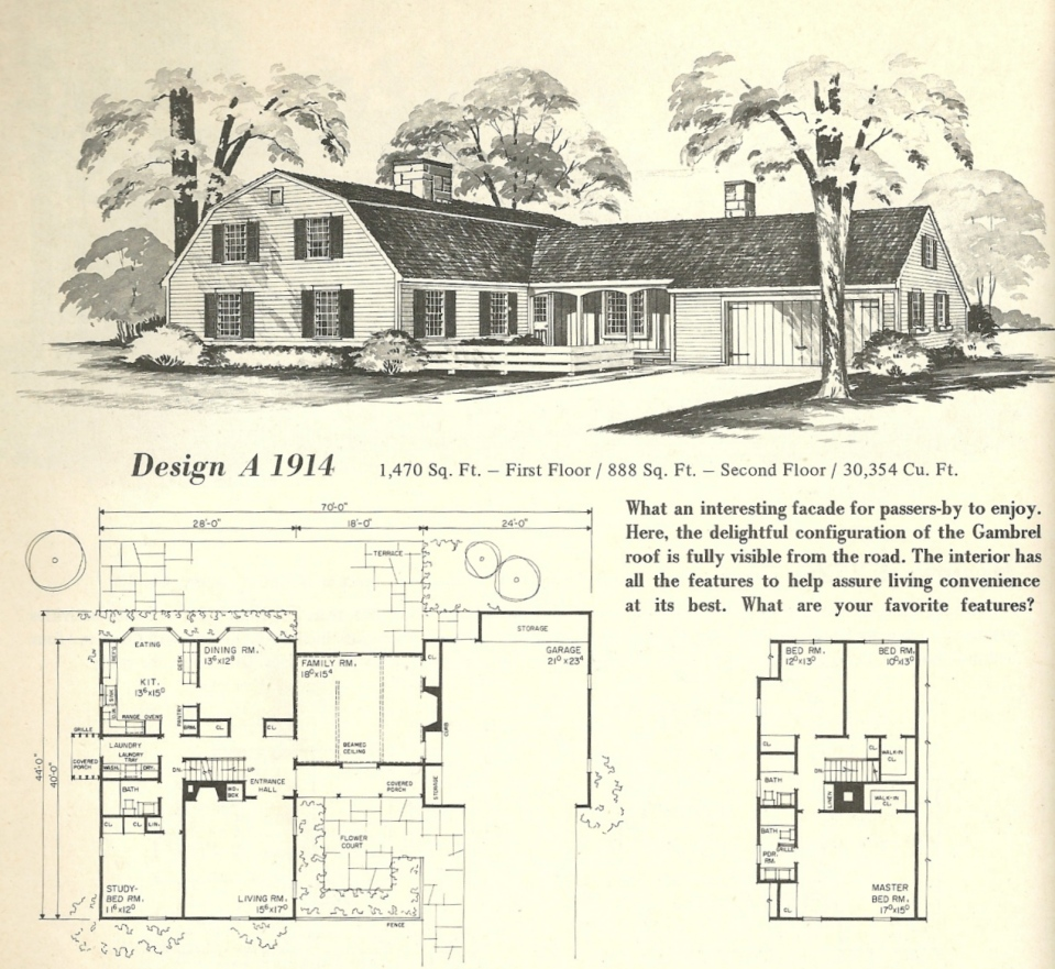 Vintage home plans gambrel 1914 antique alter ego for Gambrel roof house plans