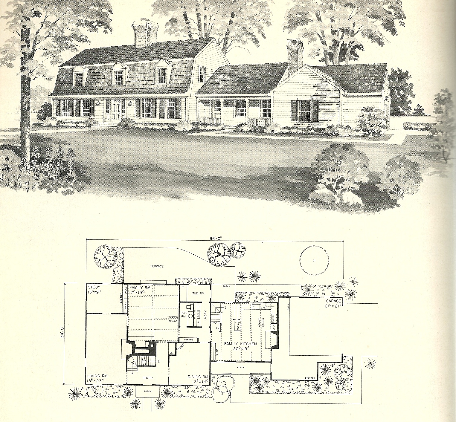 Vintage home plans gambrel 2 antique alter ego for Gambrel roof house plans