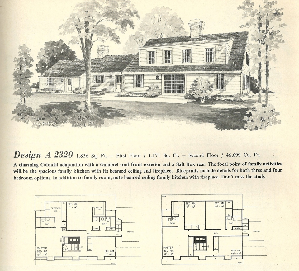 Vintage home plans gambrel 2320 antique alter ego for Gambrel roof house plans