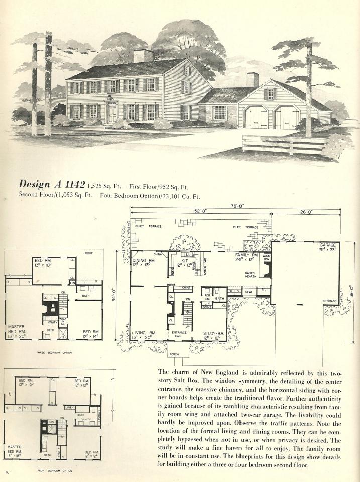 Vintage House Plans Salt Box 1142 Antique Alter Ego