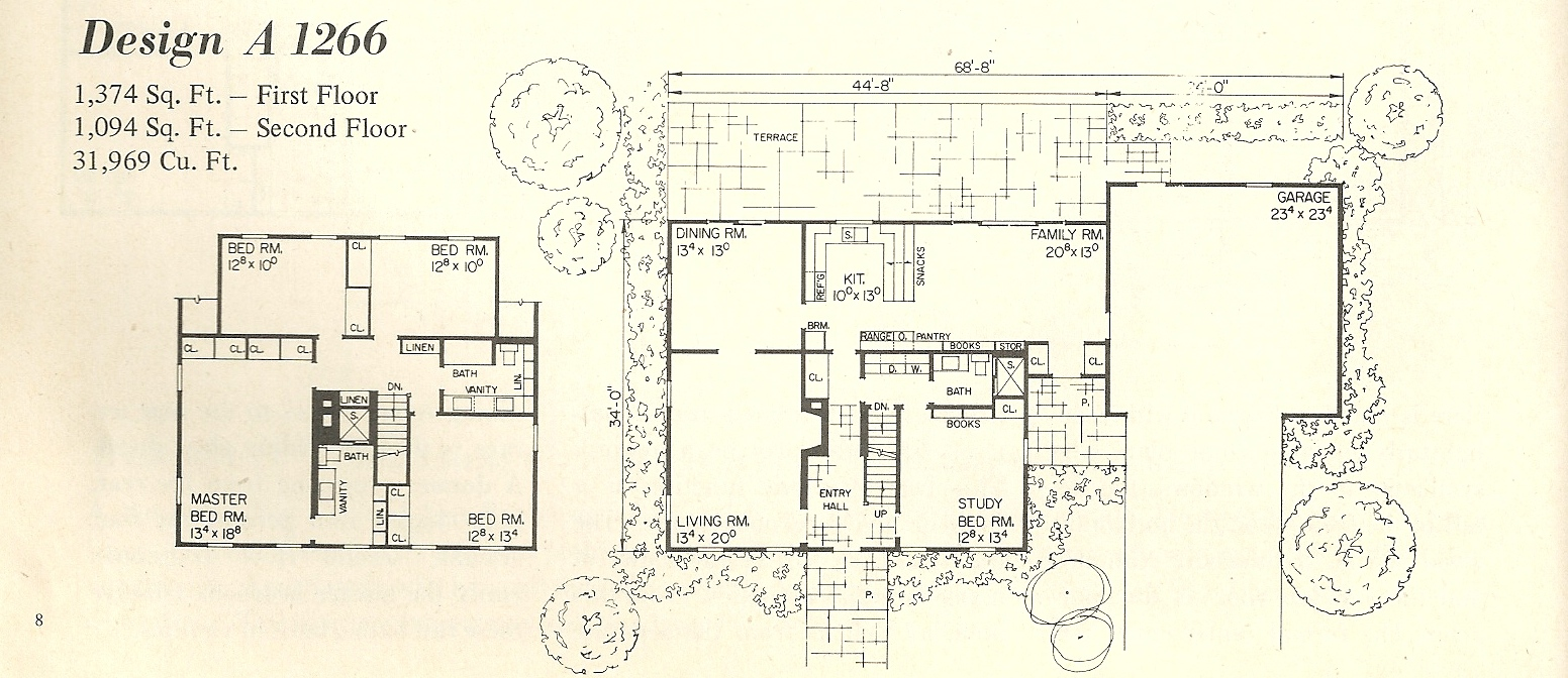 Vintage house plans salt box 1266a antique alter ego for Salt box house plans