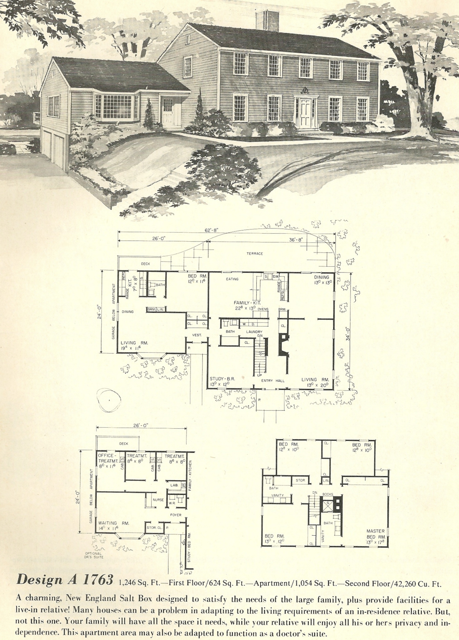 Vintage house plans salt box 1763 antique alter ego for 1970s house floor plans