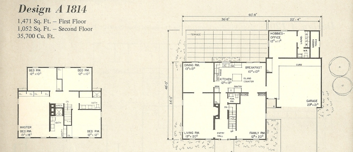 Vintage House Plans, 1970s homes, New England Salt Box