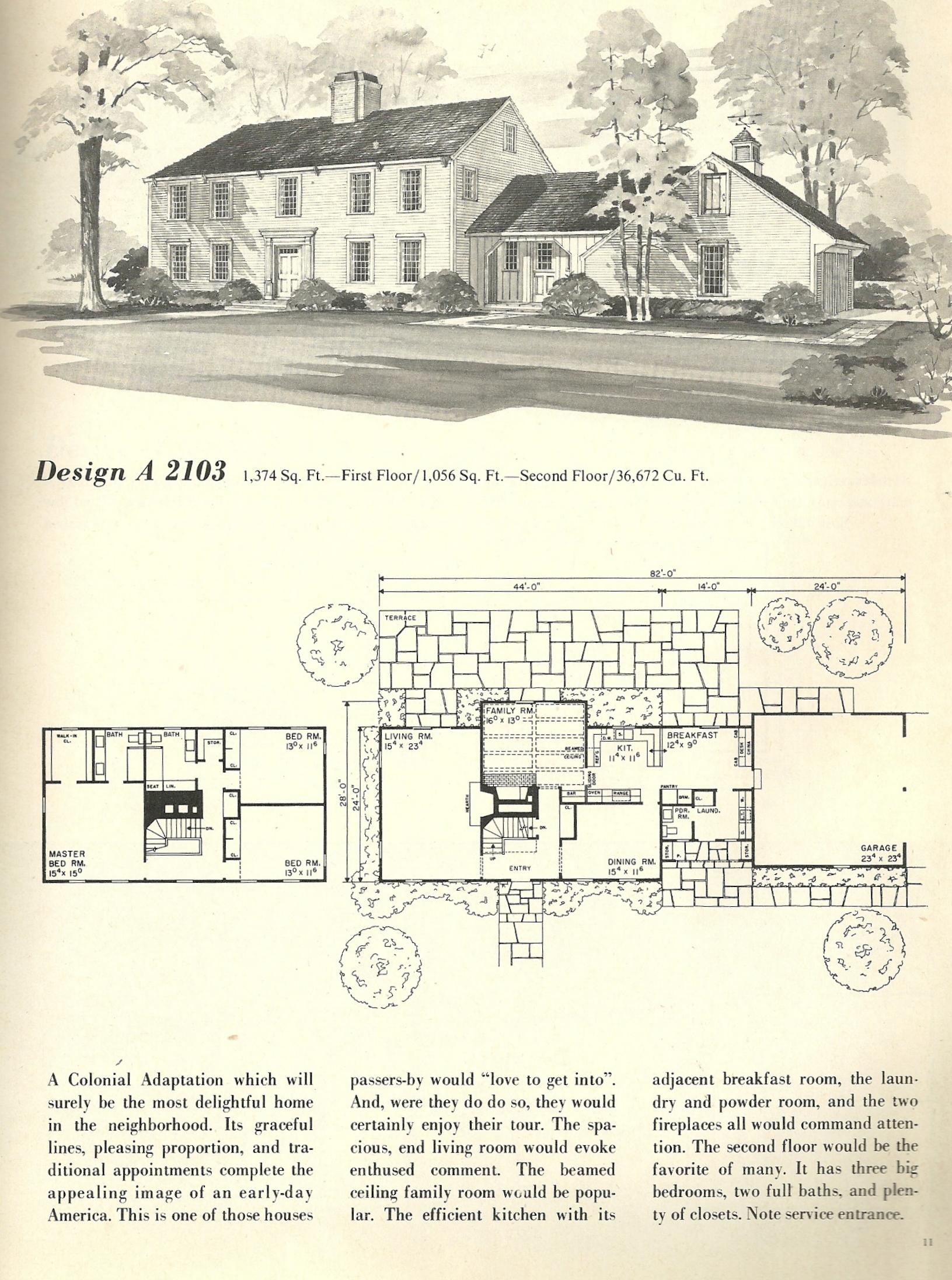 Vintage House Plans Salt Box 2103 Antique Alter Ego