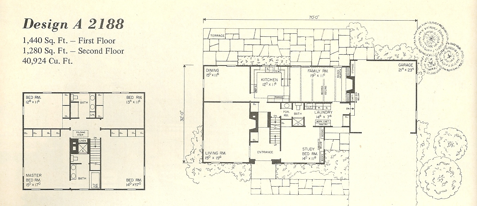 Vintage House Plans Salt Box 2188a on Single Story Log Home Floor Plans