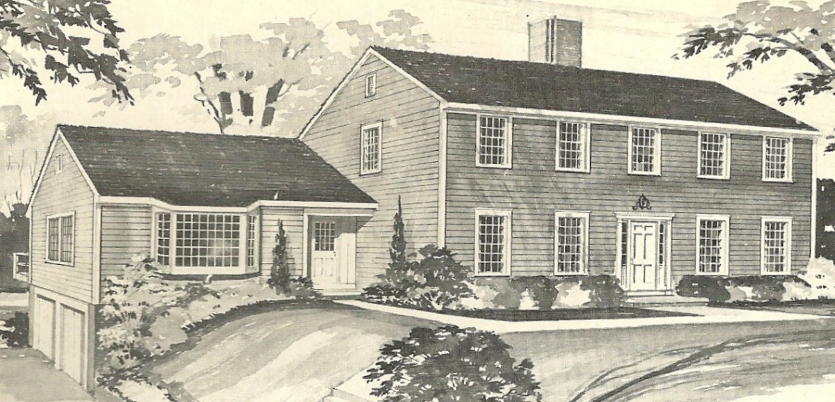 Vintage house plans 1970s new england salt boxes for New england house designs