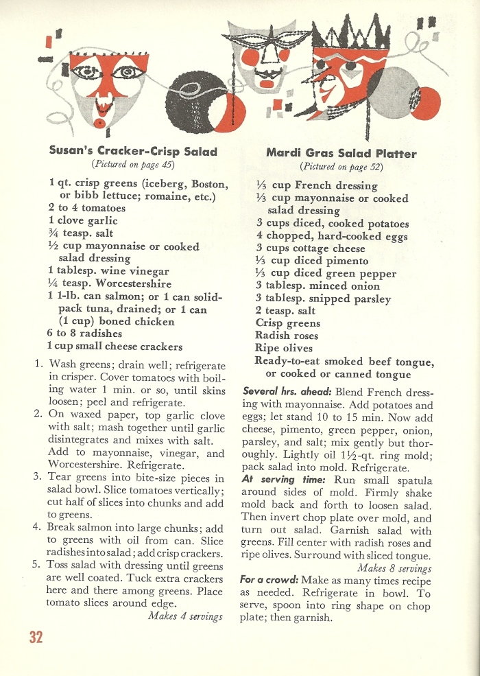 Vintage Recipes, Salads, main dish salads