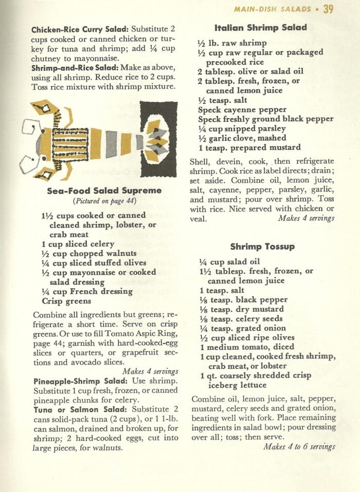 Vintage Recipes, Salads, main dish salads