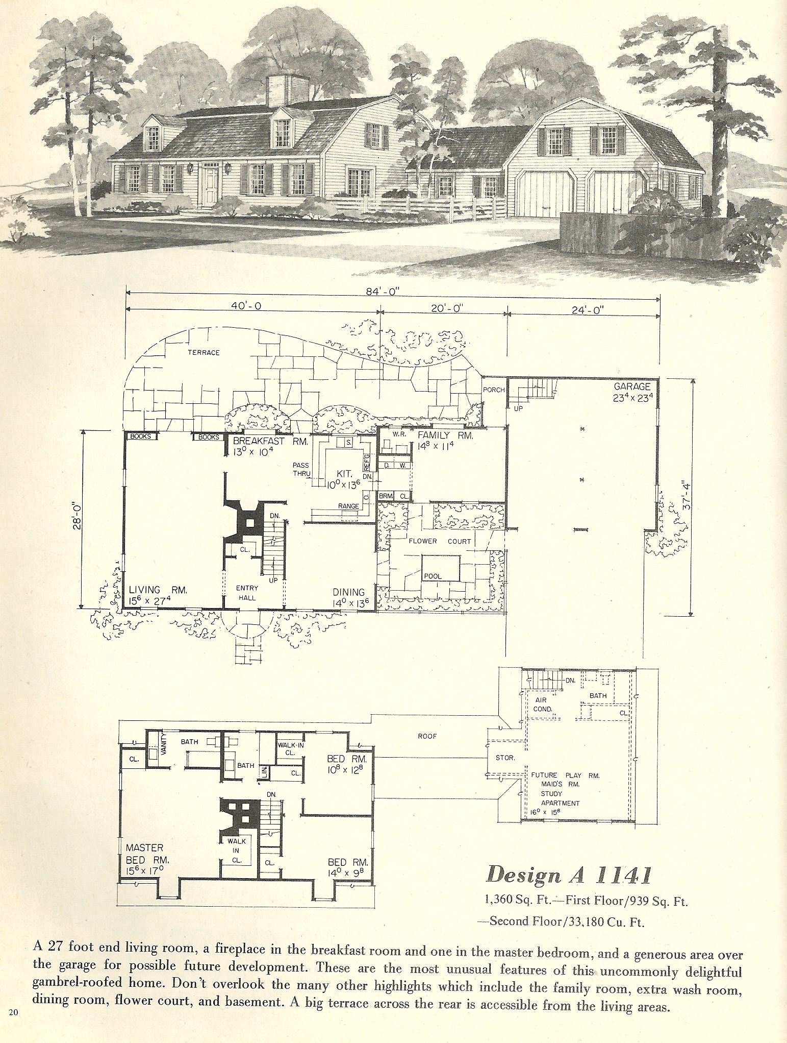 Vintage house plans 1970s new england gambrel roof homes for Vintage floor plans