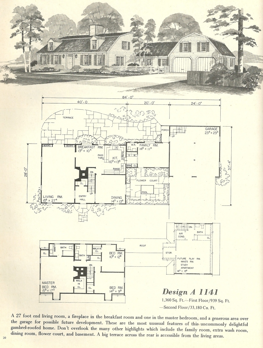 Vintage house plans 1141 antique alter ego for Antique house floor plans