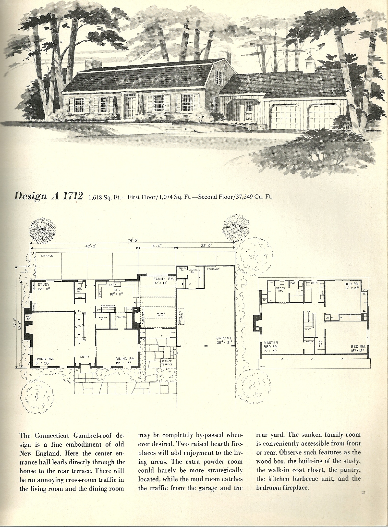 Vintage house plans 1712 antique alter ego for 1970s house floor plans
