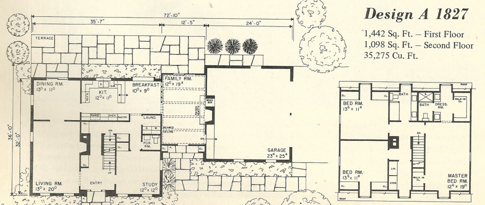 Vintage House Plans 1827a – Gambrel House Floor Plans