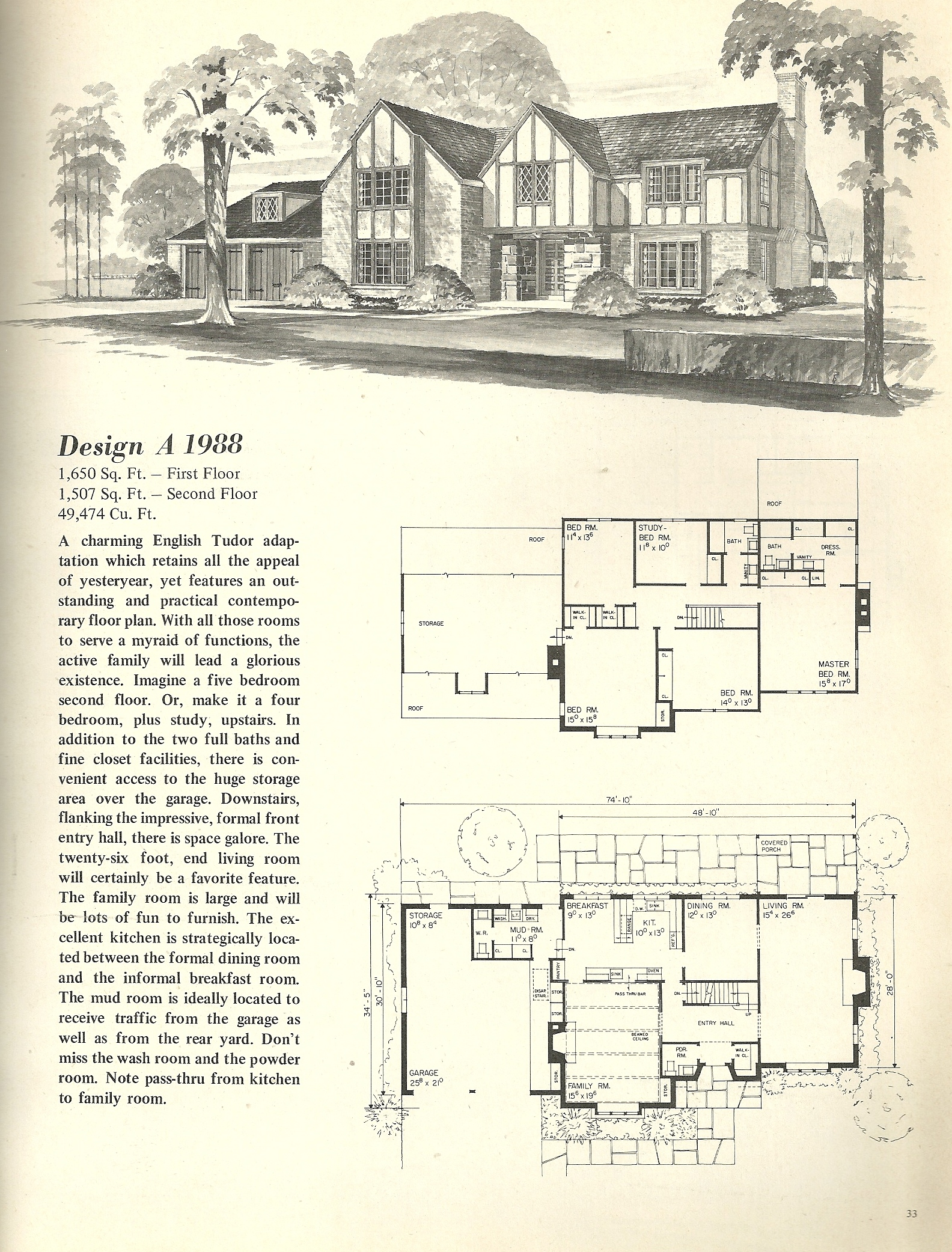 Vintage house plans 1988 antique alter ego for Vintage floor plans