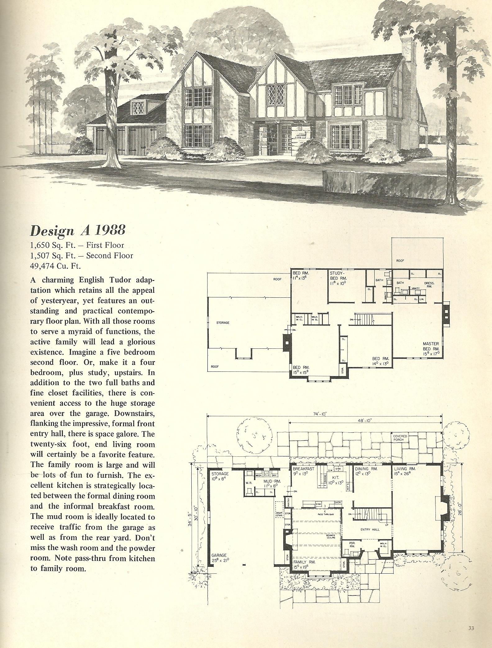 Vintage house plans 1988 antique alter ego for Tudor home floor plans