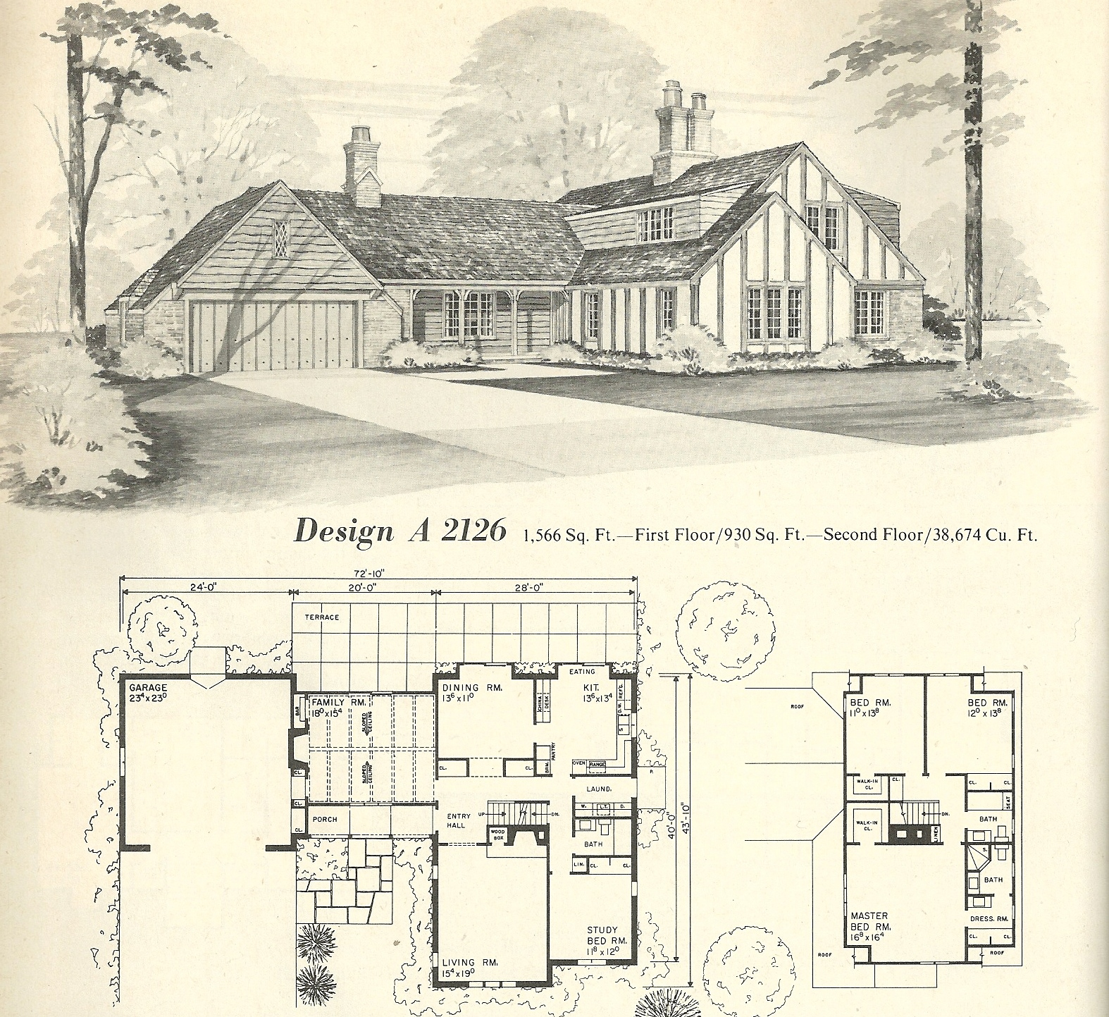 Vintage house plans 2126 antique alter ego for 1970s house floor plans
