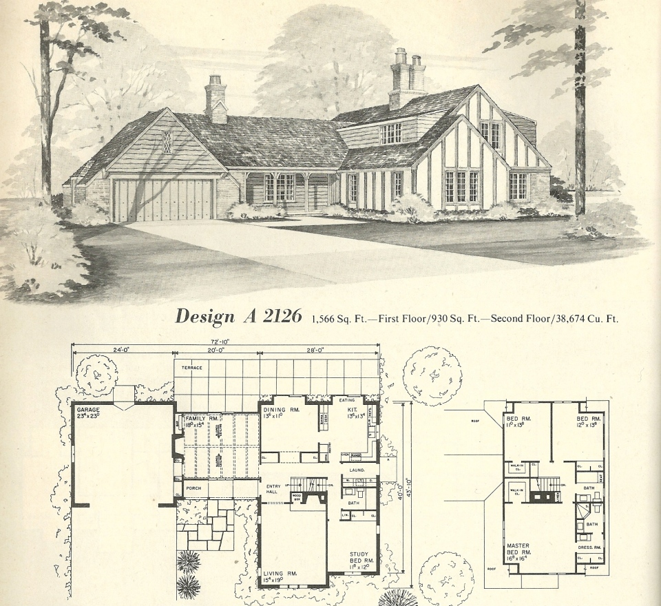 Vintage house plans 2126 antique alter ego for Architecture 1970