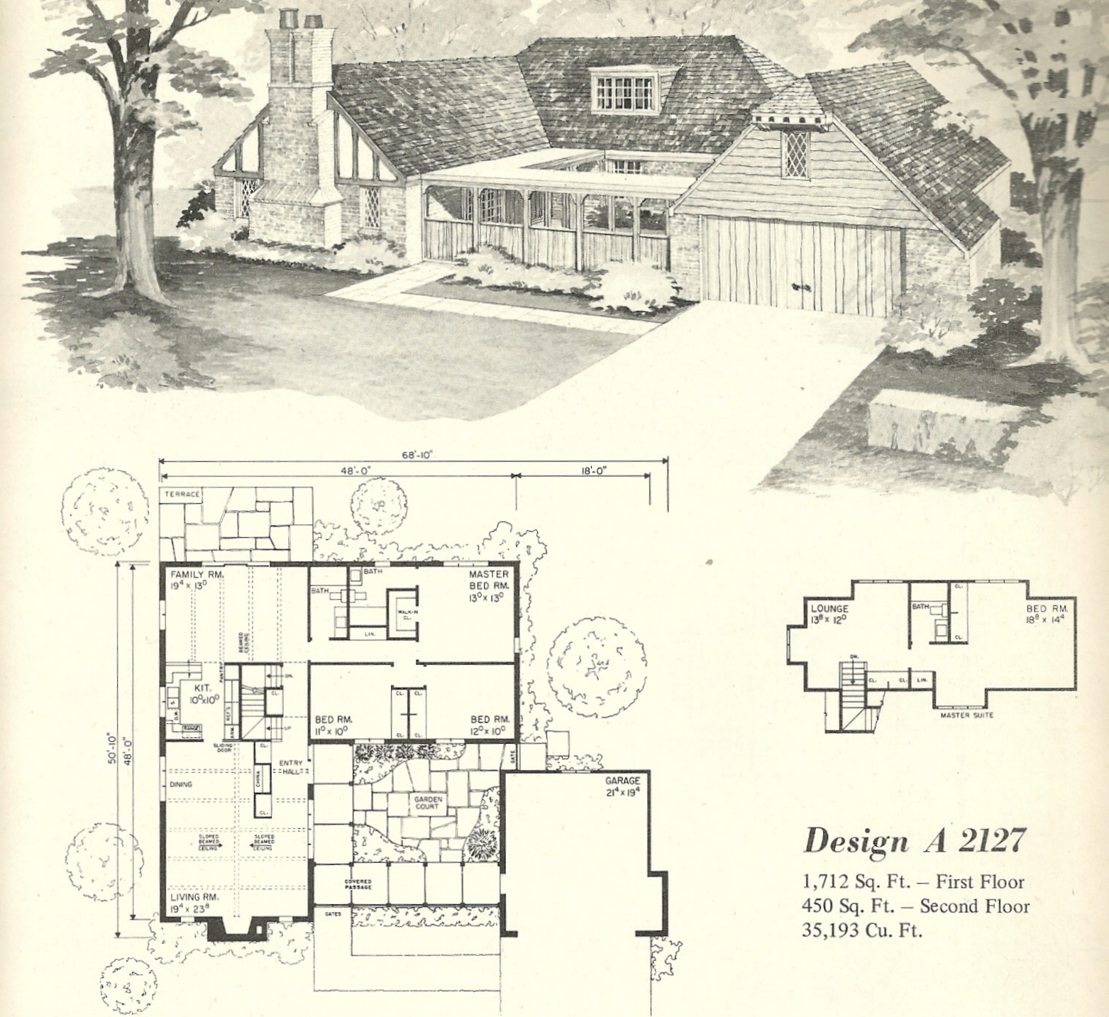 Vintage house plans 2127 for Vintage ranch house plans
