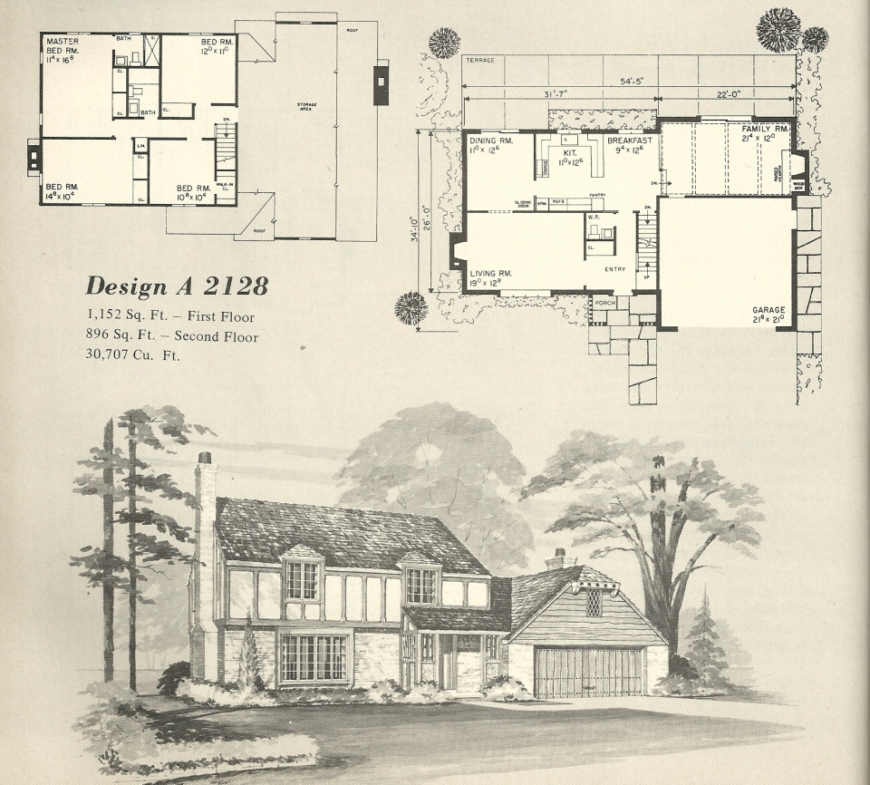 Vintage house plans 2128 antique alter ego for Classic tudor house plans