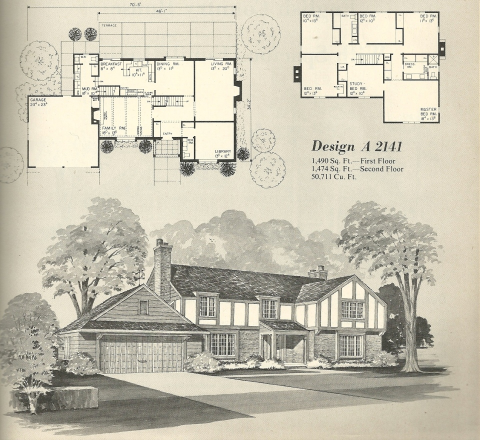 Vintage house plans 2141 antique alter ego for Historic tudor house plans