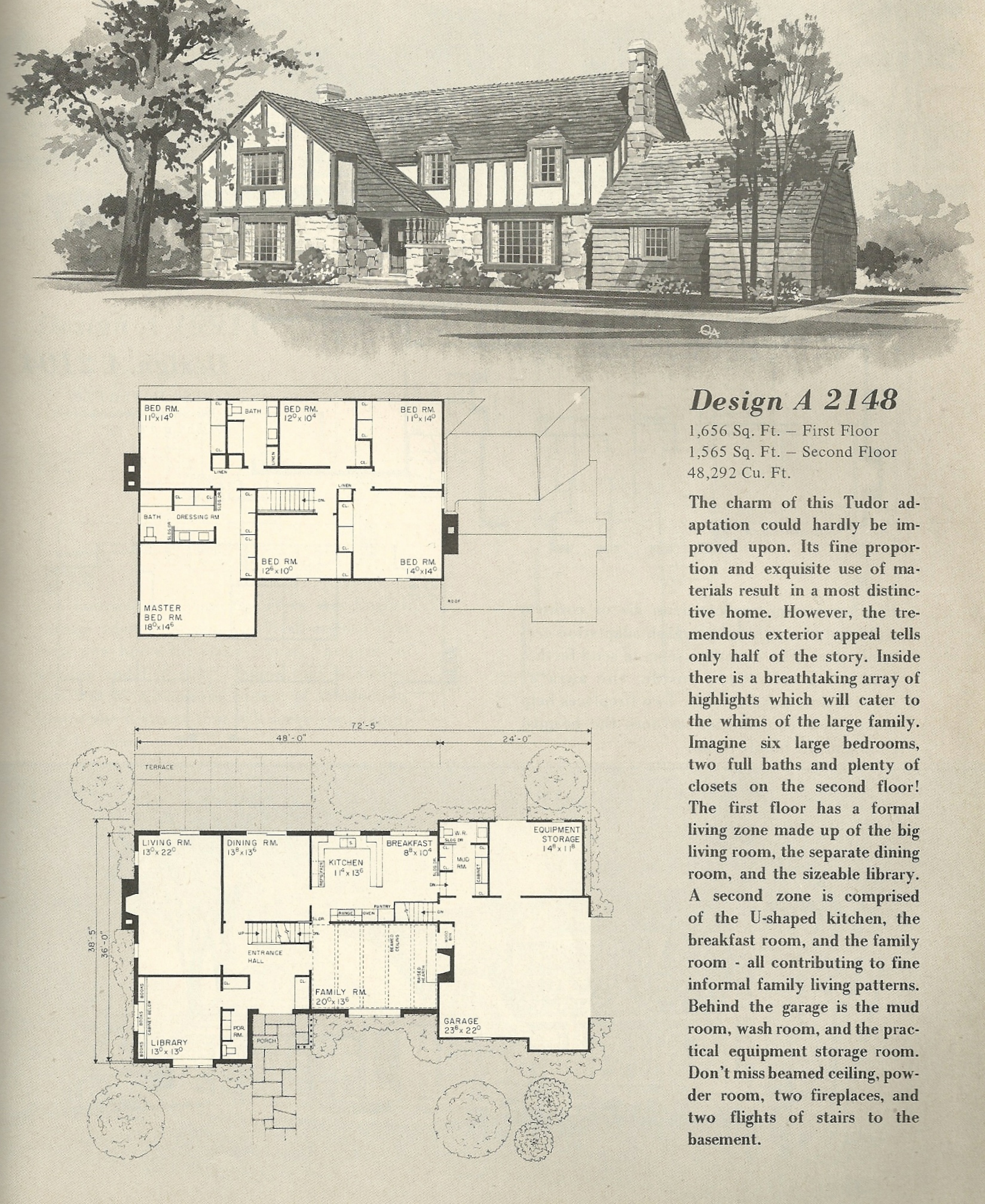 Vintage house plans 2148 antique alter ego for Classic tudor house plans