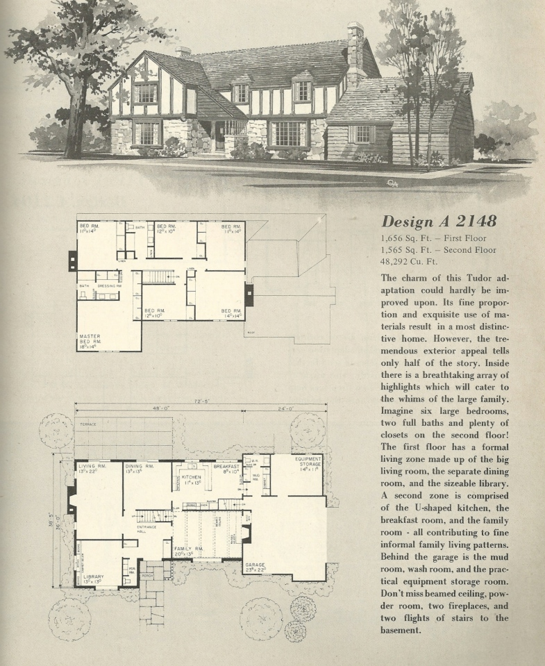 Vintage house plans 2148 antique alter ego for Historic tudor house plans
