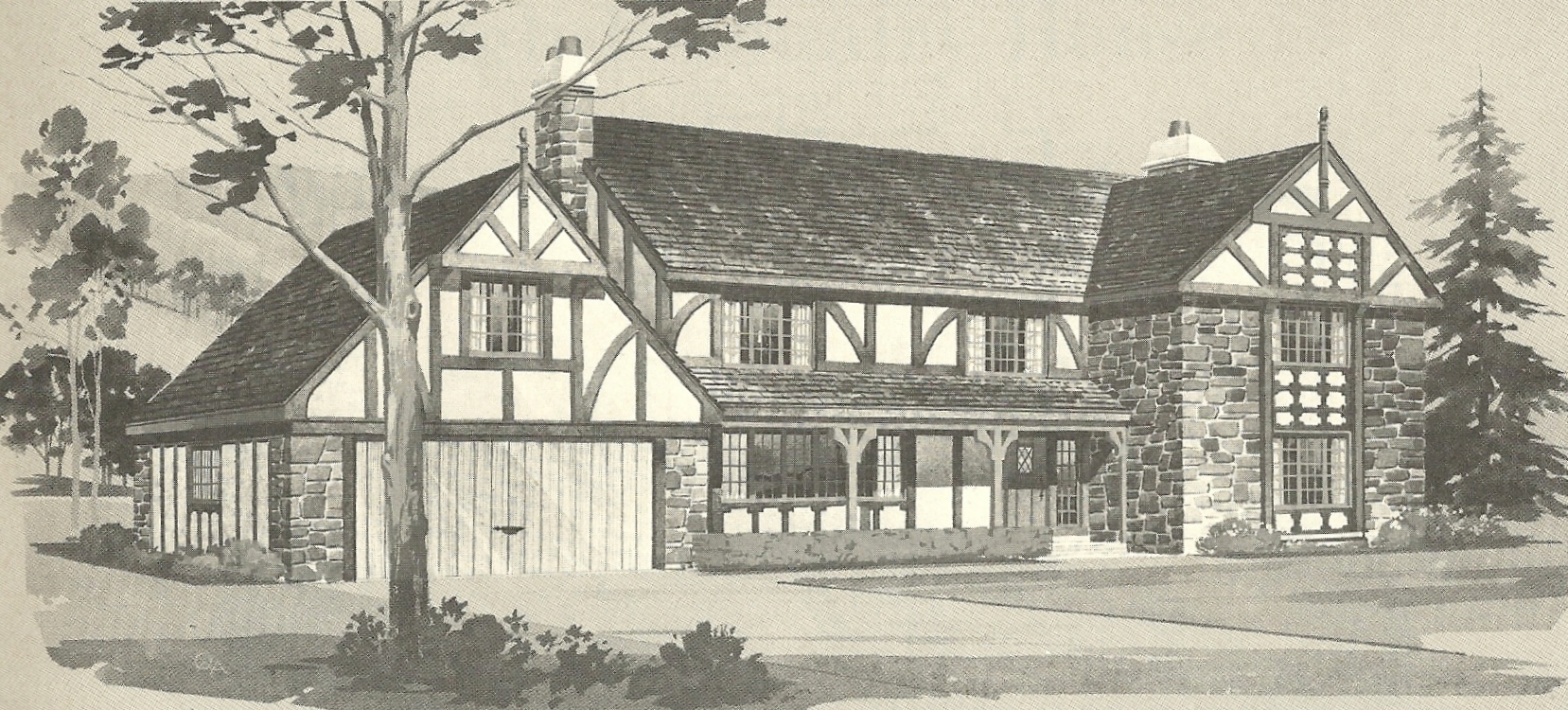Vintage house plans 1970s english style tudor homes for New houses that look old plans