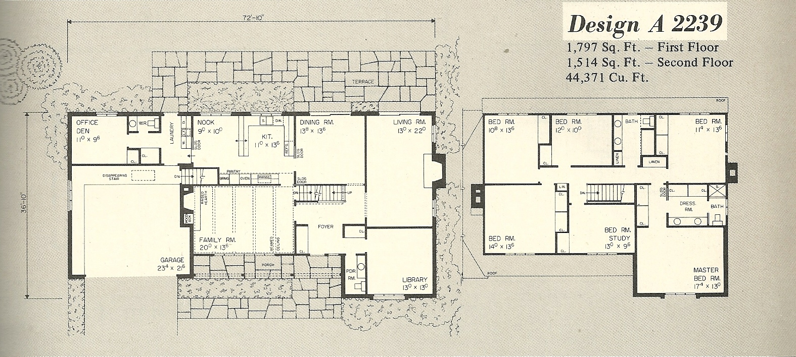 Vintage house plans 2239a antique alter ego for 1970s house floor plans