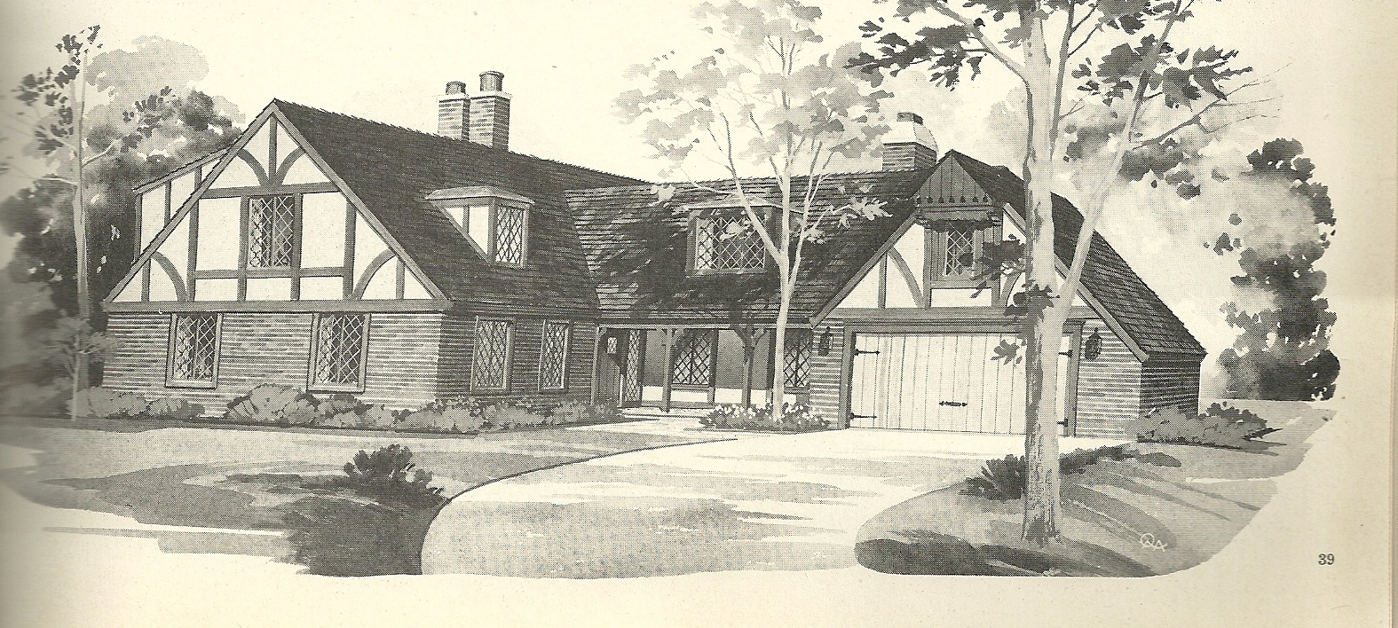 Vintage house plans 2241 antique alter ego for Tudor house plans