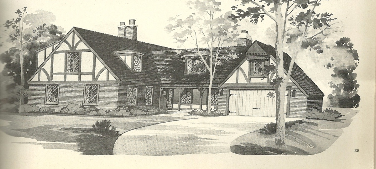 Vintage house plans 2241 for Tudor house plans with photos