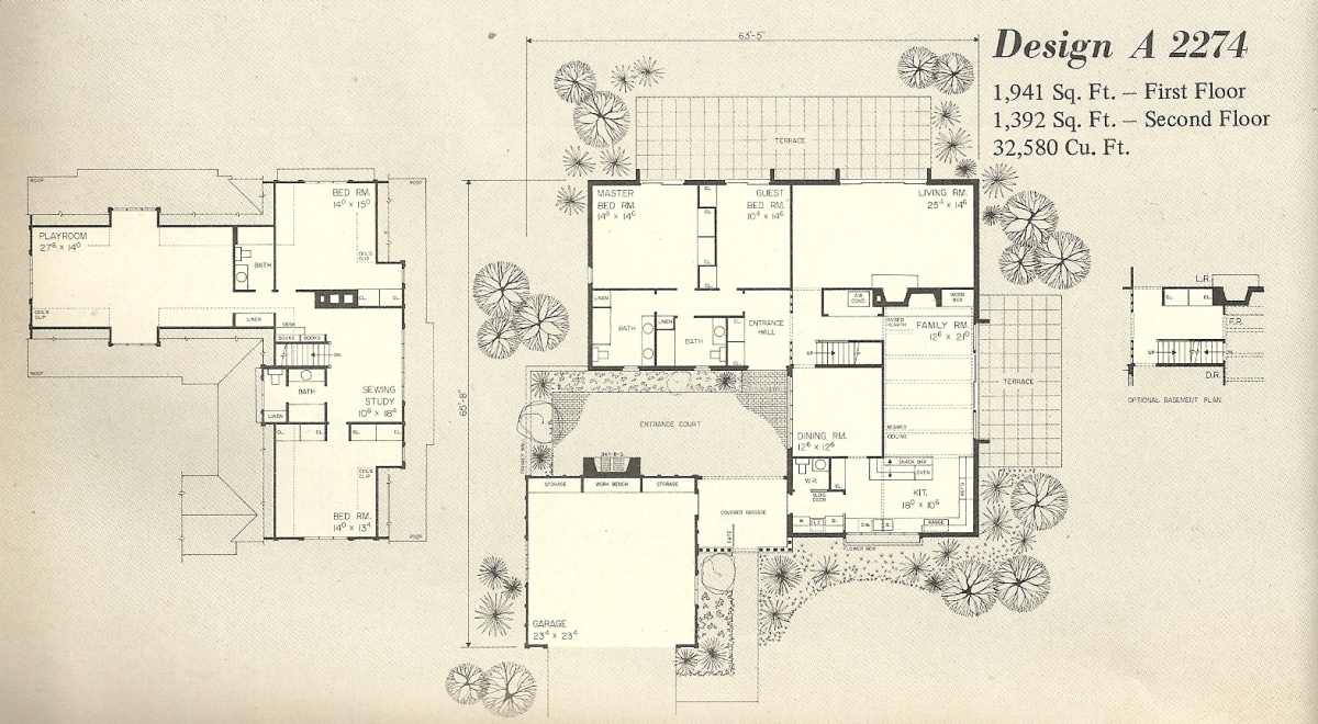 Vintage house plans 2274a for English tudor house plans
