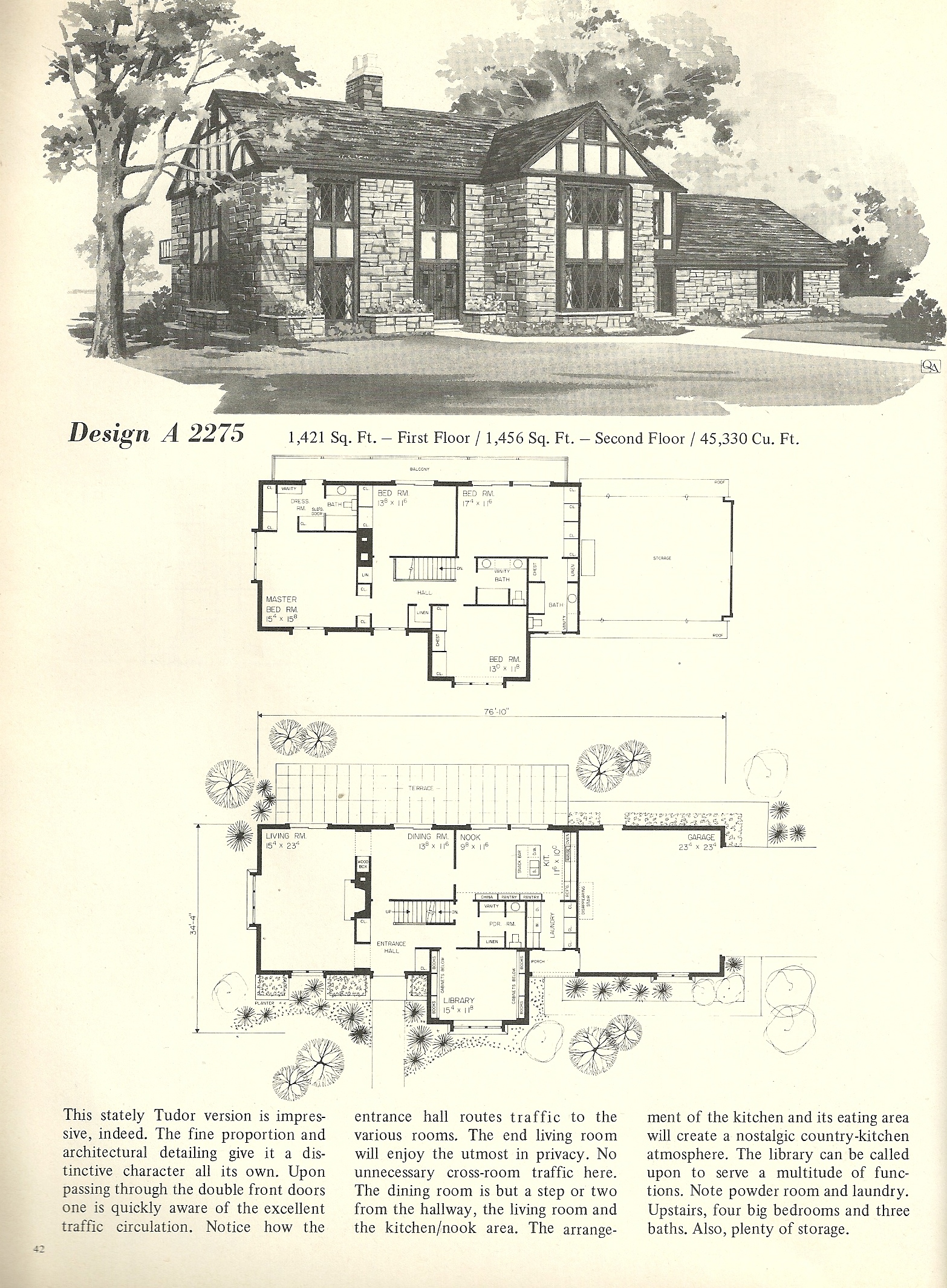 Vintage house plans 1970s english style tudor homes for 1970s house floor plans