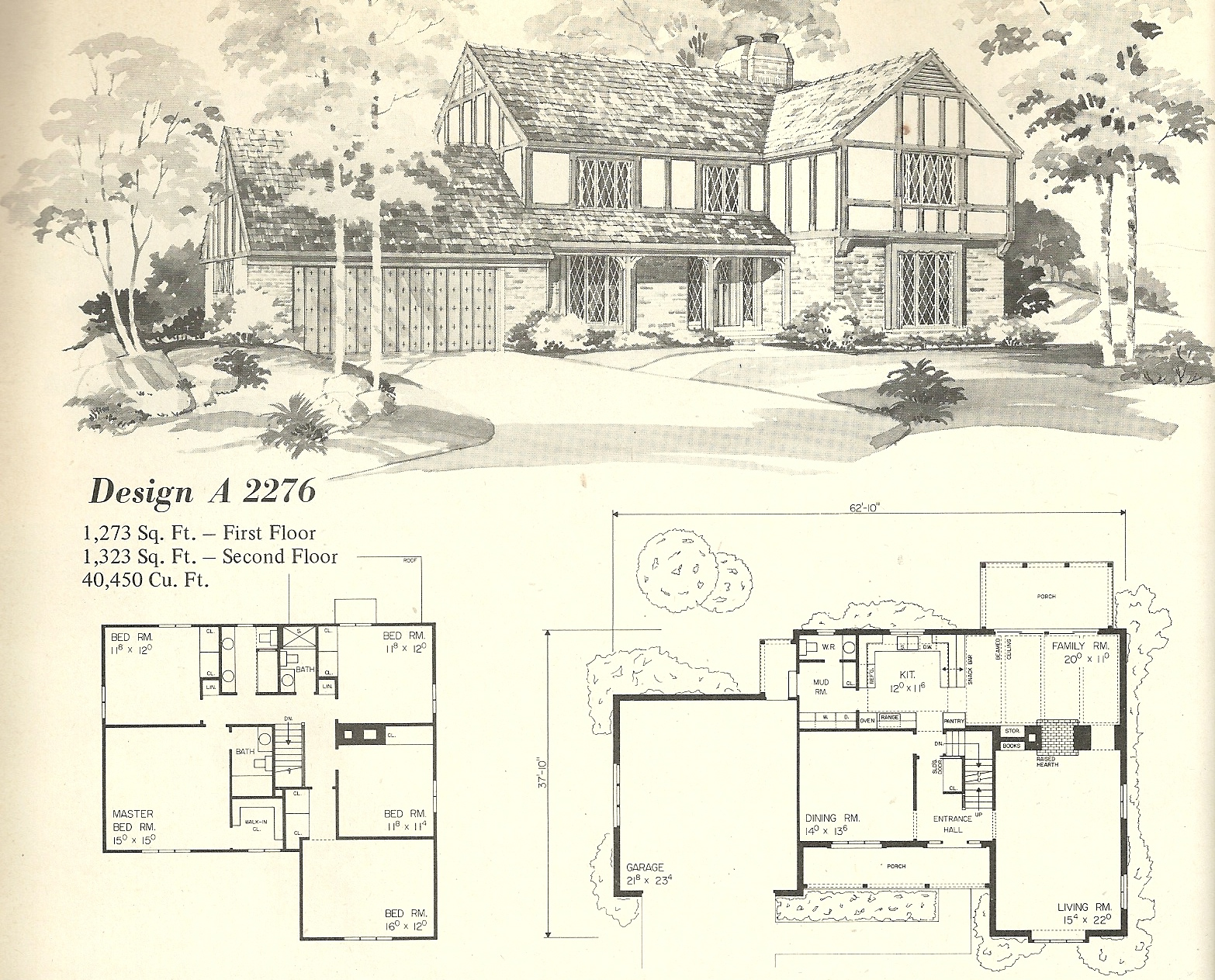 Vintage house plans 2276 antique alter ego for Classic tudor house plans