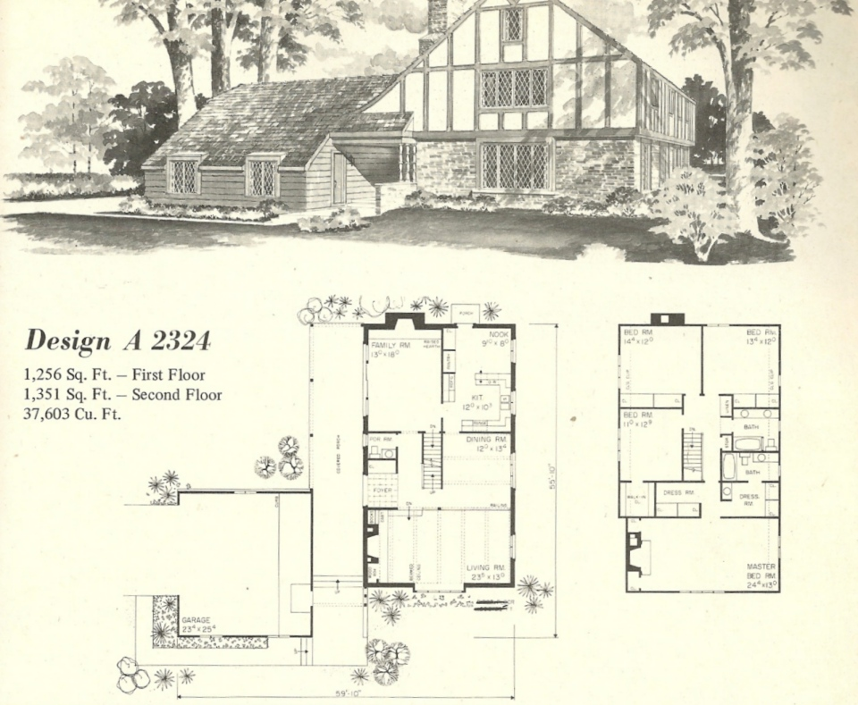 Vintage house plans 2324 antique alter ego for Classic tudor house plans