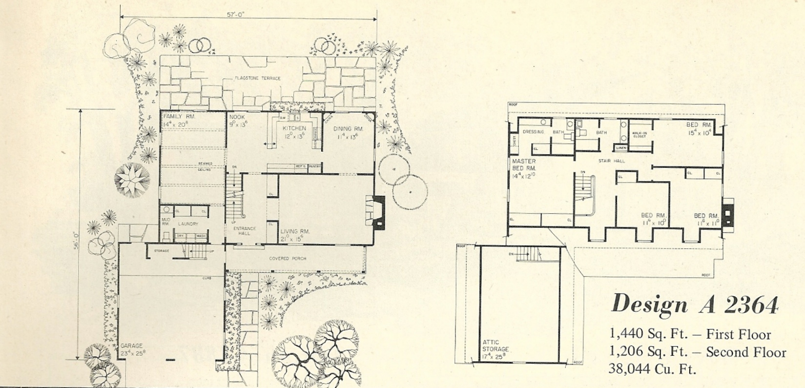 Vintage house plans 2364a antique alter ego for 1970s house floor plans