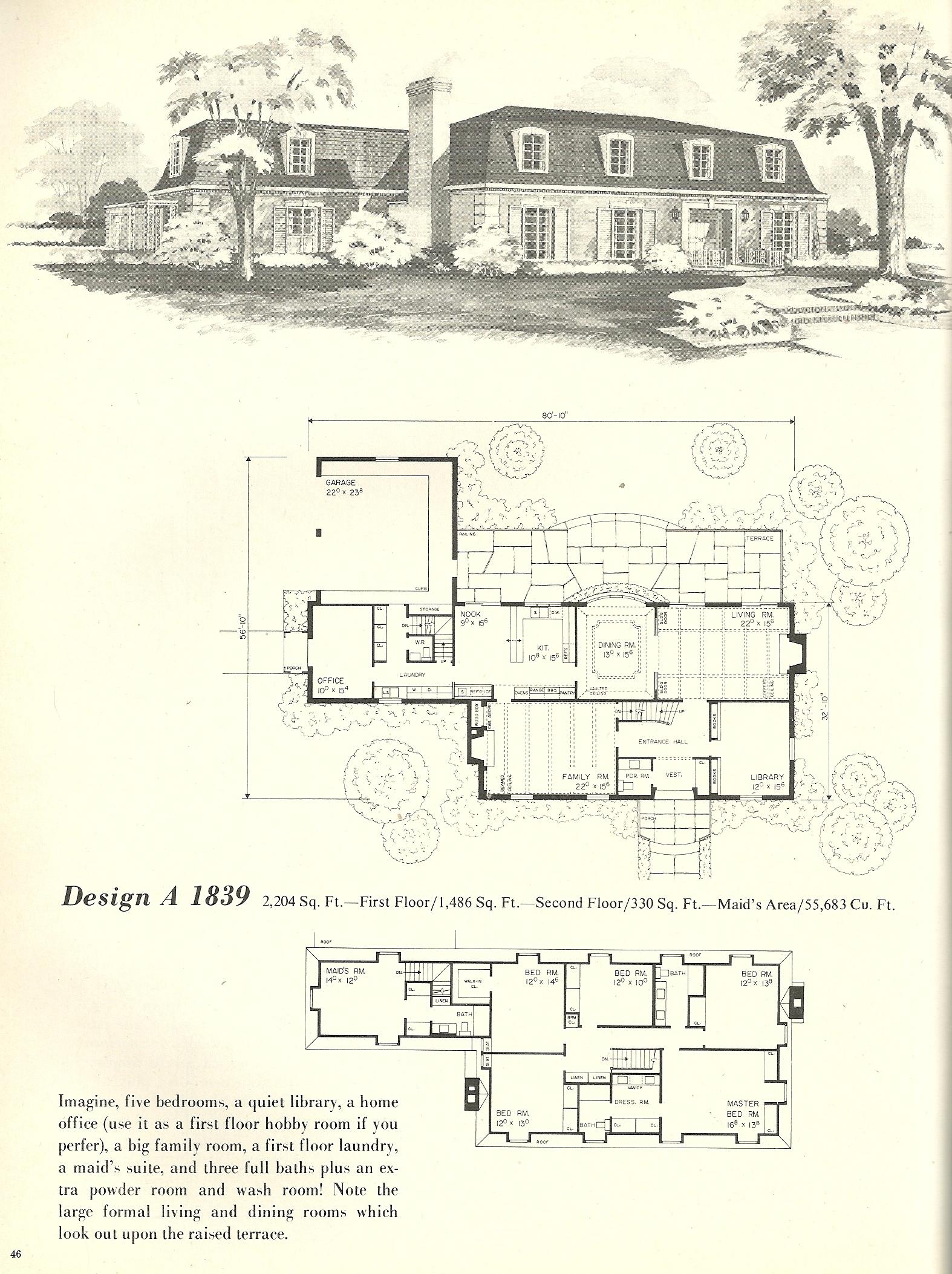 Vintage house plans french mansards 2 antique alter ego for French mansard house plans