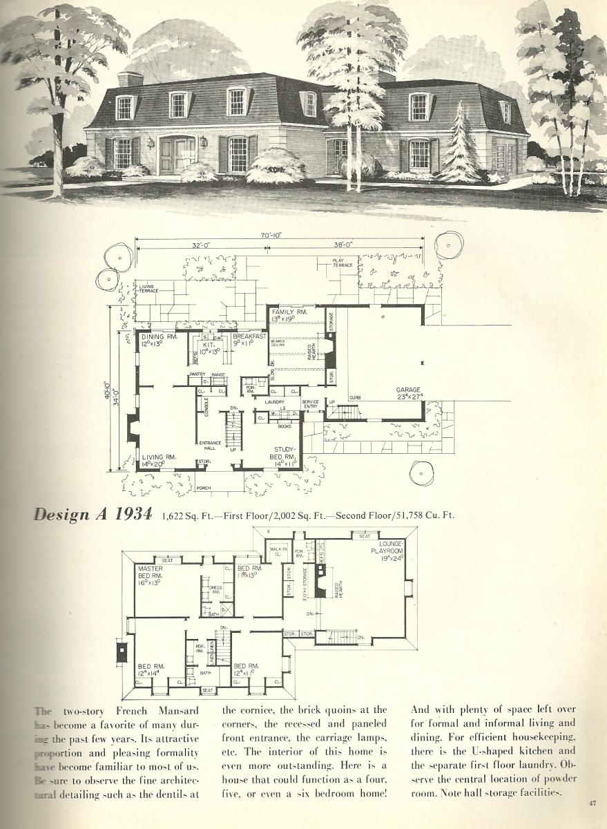 Vintage House Plans, Vintage Homes, French Mansards