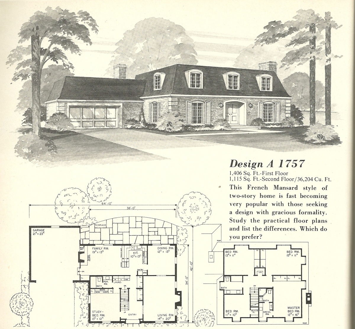 Vintage house plans french mansards 5 antique alter ego for Vintage floor plans