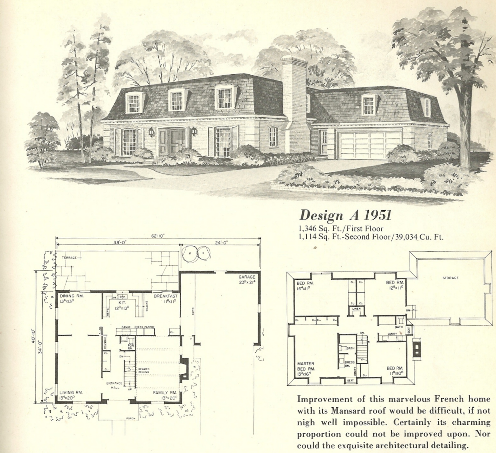 Vintage house plans french mansards 6 antique alter ego for Vintage floor plans