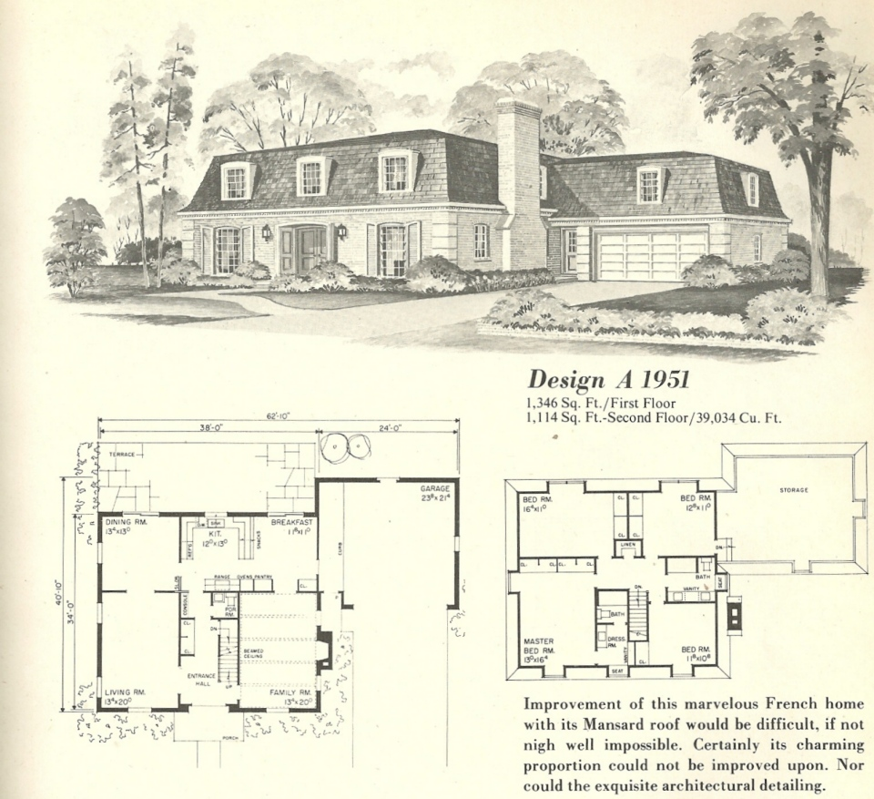 Vintage house plans french mansards 6 antique alter ego for Vintage home plans