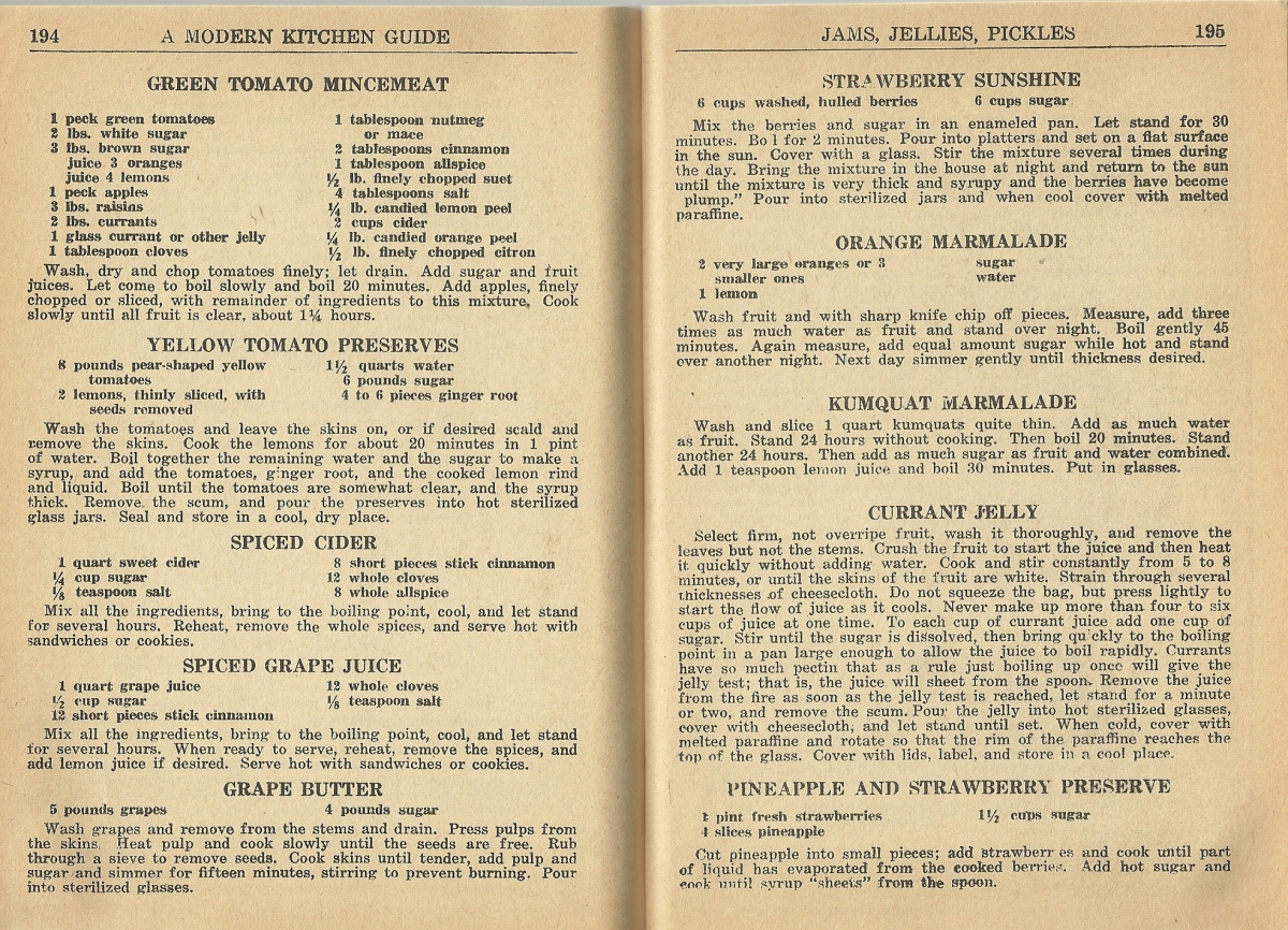 Vintage Recipes, Jams, Jellies, Pickles, 1940s recipes