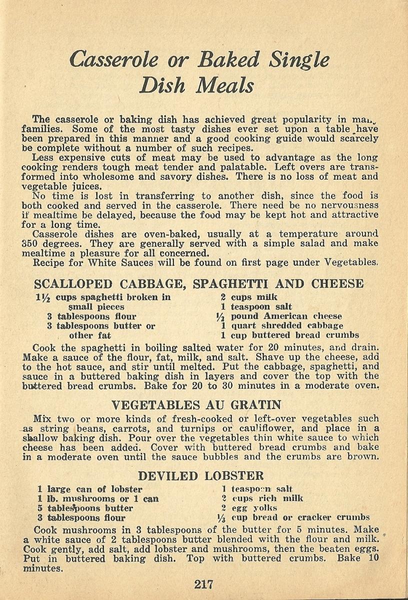 vintage recipes, 1940s, casseroles