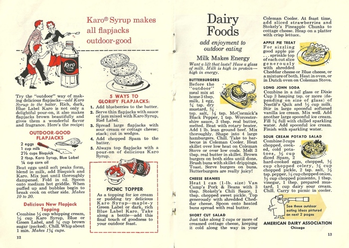 Vintage Recipes, outdoor foods, 1950s