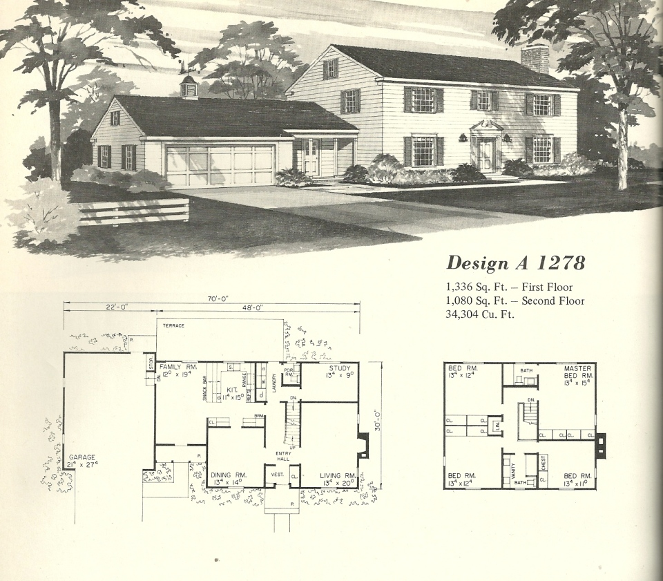 Vintage house plans 1278 antique alter ego for Antique colonial house plans