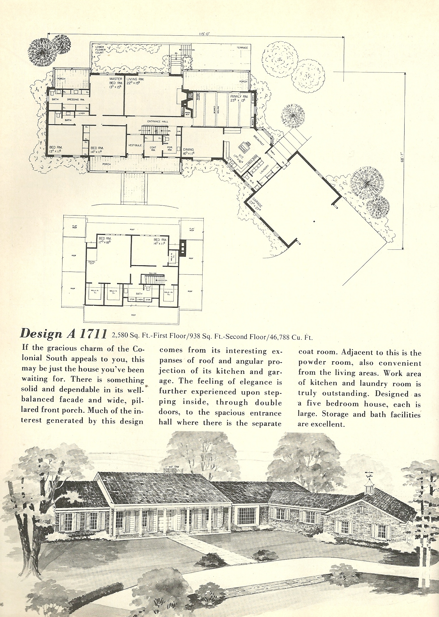 Vintage house plans 1970s early american southern Early american home plans